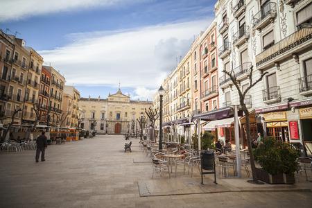 TARRAGONA,SPAIN-MARCH 4,2017:Historic center city square,plaza font in Tarragona,Spain.