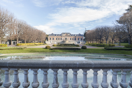 BARCELONA,SPAIN-JANUARY 15,2017:Garden,Jardins Joan Maragall and palace Albeniz,park montjuic, Barcelona. Editorial