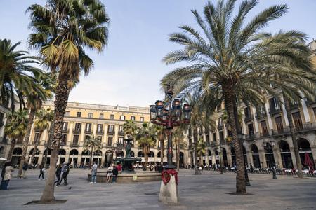 BARCELONA,SPAIN-MARCH 6,2017:Square,Plaza Real,close to Ramblas,touristic point city.Barcelona.