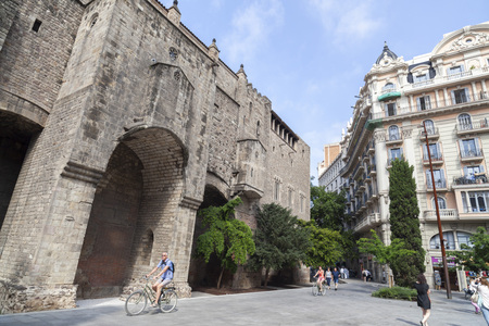 BARCELONA,SPAIN-MAY 26,2017:Street view,historic center,gothic quarter,Barcelona.