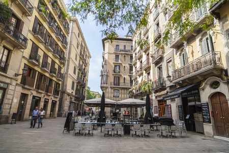 BARCELONA,SPAIN-MAY 26,2017:Street in El Born,trendy quarter in historic center of Barcelona.
