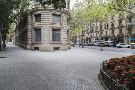 BARCELONA,SPAIN-JULY 23,2017:Street view,Eixample quarter,Barcelona.