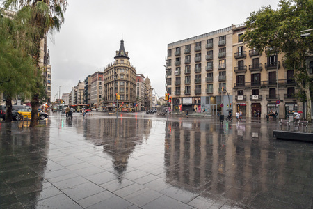 BARCELONA,SPAIN-JULY 23,2017:City view, square,Plaza Universitat,Barcelona.