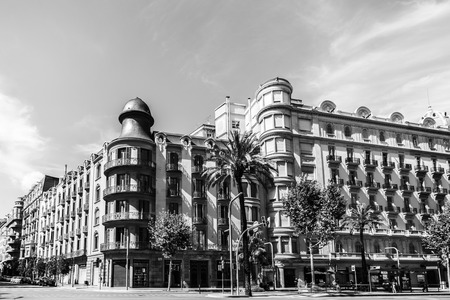BARCELONA,SPAIN-AUGUST 13,2017:Classic buildings in Diagonal avenue, Eixample quarter, black and white.Barcelona.