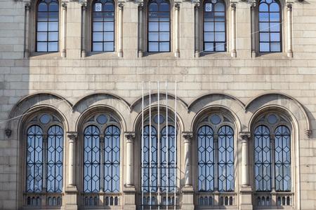 BARCELONA,SPAIN-NOVEMBER 1,2017:Detail facade historic building of University, square, Plaza Universitat. Barcelona. 報道画像