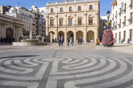 CASTELLON,SPAIN-JANUARY 30,2018: Plaza mayor,Main square.Castellon,Spain. Editorial