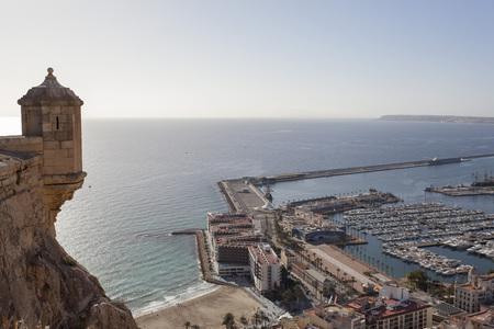 ALICANTE, SPAIN- JANUARY 18, 2018: General city view from santa barbara castle.Alicante, Spain.