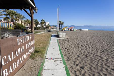 TORREMOLINOS, SPAIN- JANUARY 22,2018: Mediterranean beach view in Torremolinos,Spain.