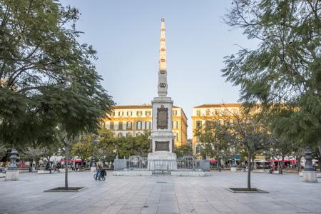 MALAGA, SPAIN- JANUARY 22,2018: Street view, historic center, square, plaza merced. Malaga, Spain.