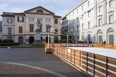 LECCO, ITALY- JANUARY 10,2018: Historic center setreet,square, piazza Garibaldi in Lecco, Italy.