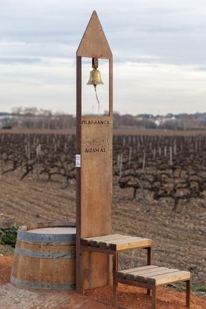 Landscape in Penedes wine region, vineyards and bell in countryside, Vilafranca del Penedes, Catalonia, Spain.