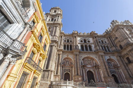 Cathedral, historic center of Malaga, Spain.