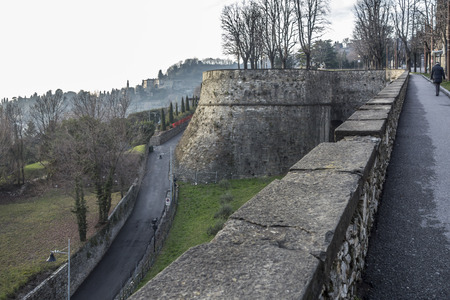 Ancient venetian walls, historic area Citta Alta of Bergamo, Lombardy, Italy. Фото со стока