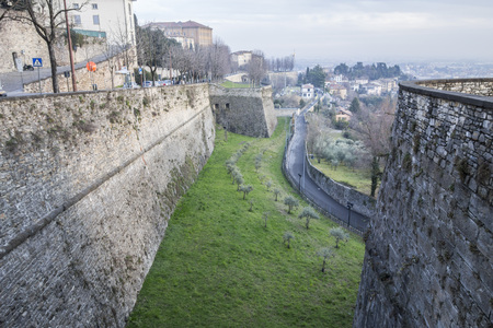 Ancient venetian walls, historic area Citta Alta of Bergamo, Lombardy, Italy. Reklamní fotografie