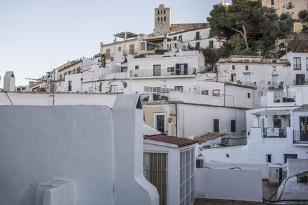 Historic area, Dalt Vila, fortified upped town, UNESCO world heritage site. Ibiza, Spain. 스톡 콘텐츠
