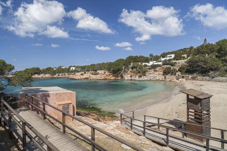 Mediterranean beach, Cala Gracio, town of Sant Antoni, Ibiza island,Spain.