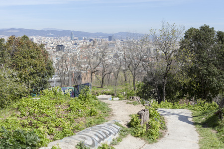 General city view from lookout Montjuic park, Barcelona,Spain.