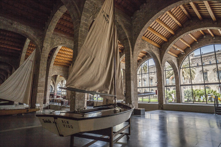 BARCELONA,SPAIN-APRIL 22,2018: Interior of Maritime museum of Barcelona, located in Drassanes reials, Royal Shipyard, gothic architecture.