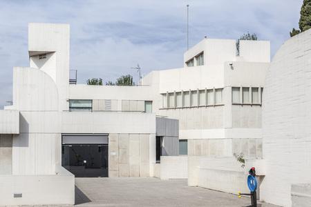 BARCELONA,SPAIN-MAY 18,2018: Joan Miro Foundation,Fundacio Miro, exterior building designed by Josep Lluis Sert in Montjuic park of Barcelona. Editöryel