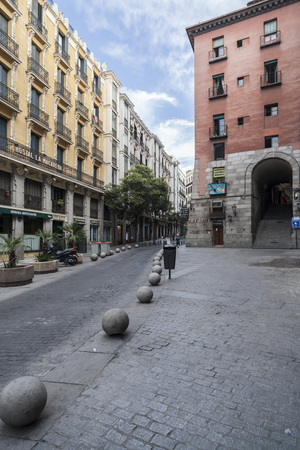 MADRID,SPAIN-JULY 25,2015: Street view, calle cuchilleros, Madrid.