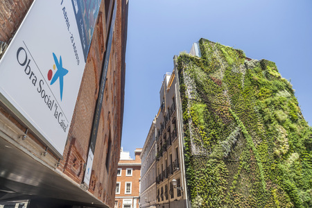MADRID,SPAIN-JULY 25,2015: Facade building,cultural center, Caixaforum,Madrid.