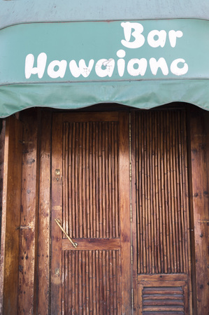MADRID,SPAIN-JULY 25,2015:Vintage facade door entrance, hawaiian, bar hawaiano,Madrid.