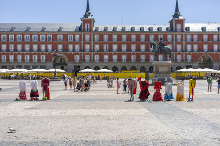 MADRID,SPAIN-JULY 25,2015:Famous city touristic point, main square, Plaza Mayor,Madrid.