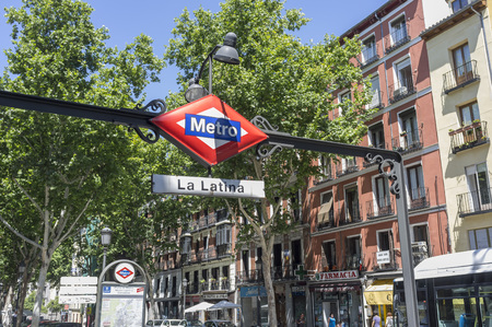 MADRID,SPAIN-JULY 25,2015: Metro sign La Latina quarter, Madrid.