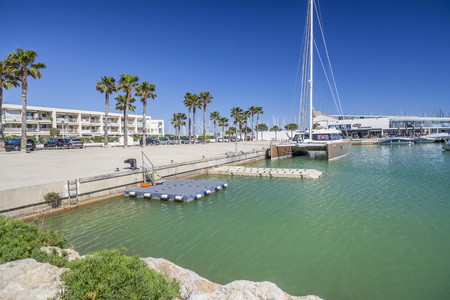 SITGES-PORT GINESTA,SPAIN-MAY 2,2018: Marina of Port Ginesta, catalan village of Sitges,Catalonia.