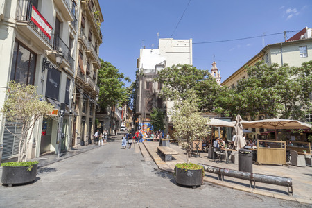 VALENCIA,SPAIN-MAY 9,2018: Street view, city center of Valencia.