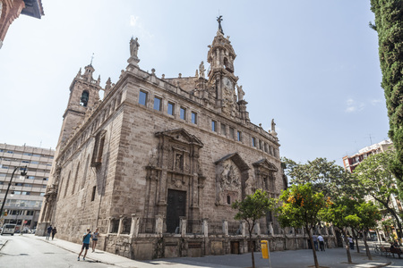 VALENCIA,SPAIN-MAY 9,2018: Ancient church Sant Joan del Mercat, baroque style,city center of Valencia. Editoriali