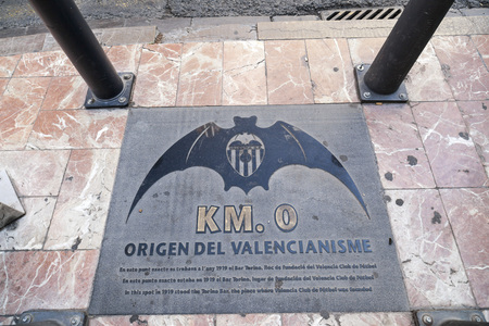 Floor sign tribute place where Valencia football club was founded. Editoriali