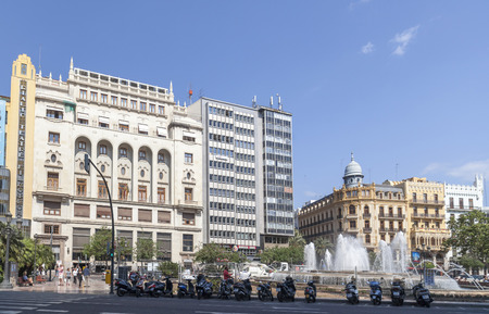 Classic building in city center, square, plaza ajuntament area, Valencia. Editoriali