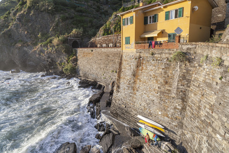 View of italian village of Vernazza in Cinque Terre region. Editoriali