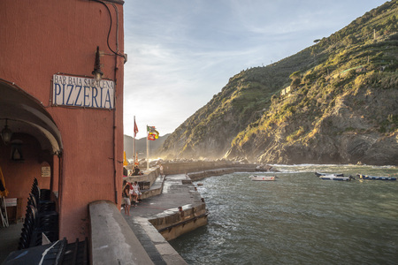 : View of italian village of Vernazza in Cinque Terre region.