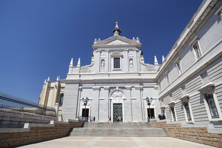 Historic religious building, cathedral La Almudena, Madrid.