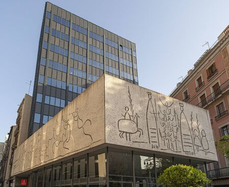 BARCELONA,SPAIN-JULY 5,2019: Artistic Mural designed by Picasso and executed by Carl Nesjar , gothic quarter.