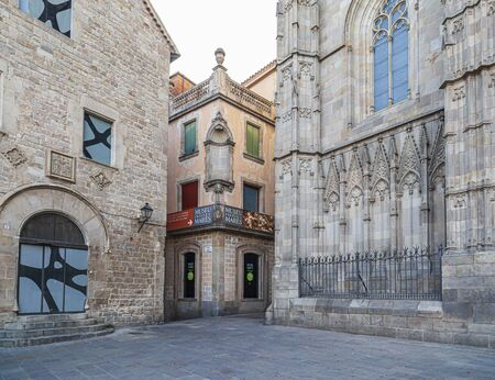 BARCELONA,SPAIN-JULY 5,2019: Cathedral of Barcelona, Spain and Gaudi Exhibition Center, gothic quarter.