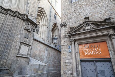 BARCELONA,SPAIN-JULY 5,2019: Cathedral and Museum, Museu Frederic Mares, gothic quarter. Editoriali