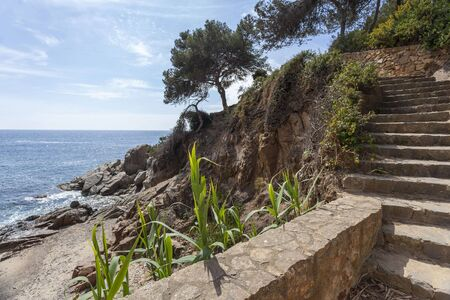 Footpath, Cami de Ronda in Lloret de Mar, Costa Brava,Catalonia, Spain.