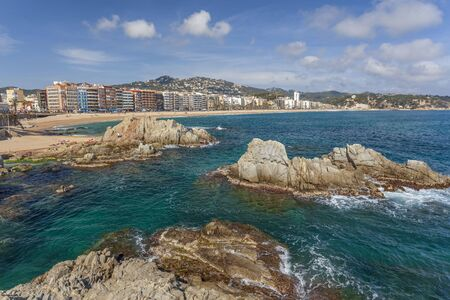 General view of Lloret  Mar and beach, Costa Brava, Catalonia, Spain.