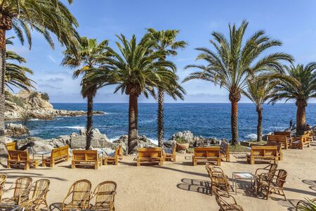 Bar terrace by the mediterranean sea in Lloret  Mar, Costa Brava, Catalonia, Spain.