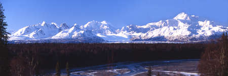 Panorama of the Alaska Range with Mt  McKinley Stock Photo