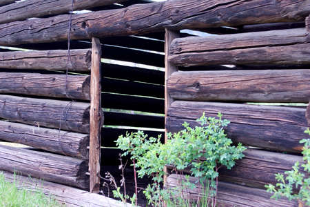 Old Log Building Stock Photo