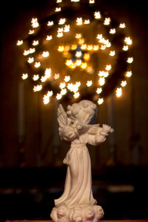Ceramic Angel with a Wreath of Lights