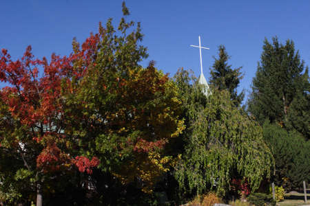 Cross above Fall foliage
