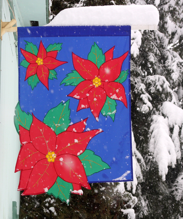 Christmas Banner in Snow Stock Photo