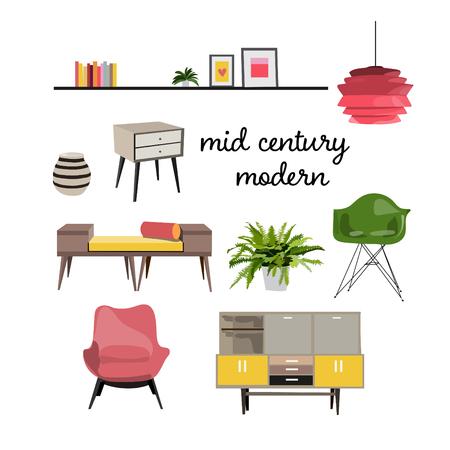 家具のリビング ルームのインテリア デザインの要素をベクトルします。イラスト。半ば世紀モダンなレトロなスタイル。ムードボード