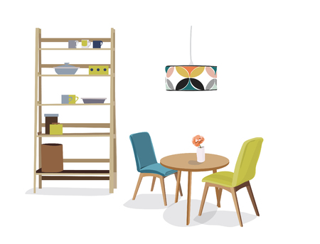 dining room vector furniture. home interior design illustration.