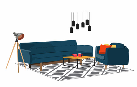 vector furniture living room interior design elements.